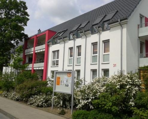 Bielefelder Beginenhof Südseite in voller Blüte